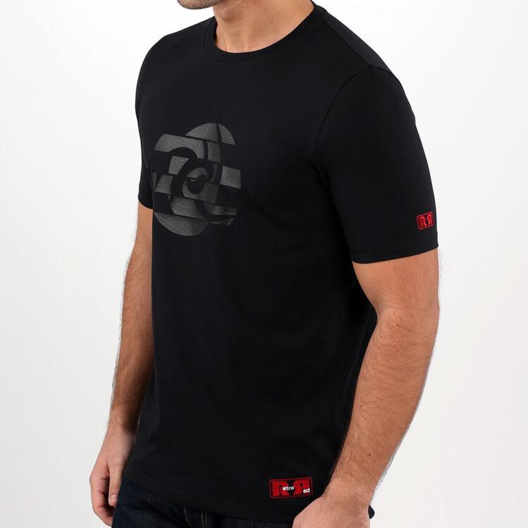 Black Abstract Circle Mens T-shirt Retro Red