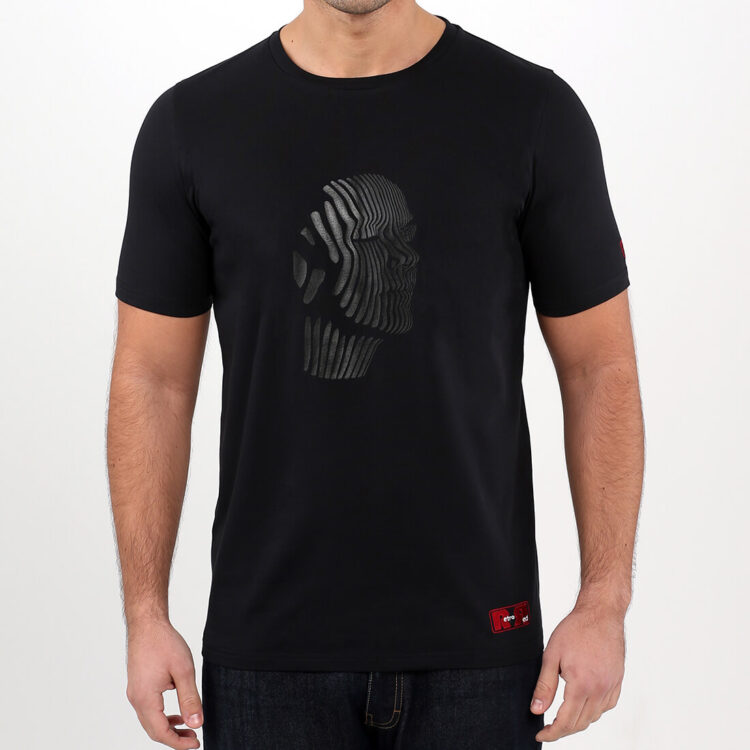 Black Abstract Face Mens T-shirt Retro Red