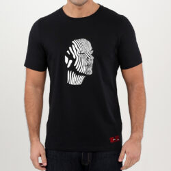 Black Abstract Face Men's T-shirt (white print)