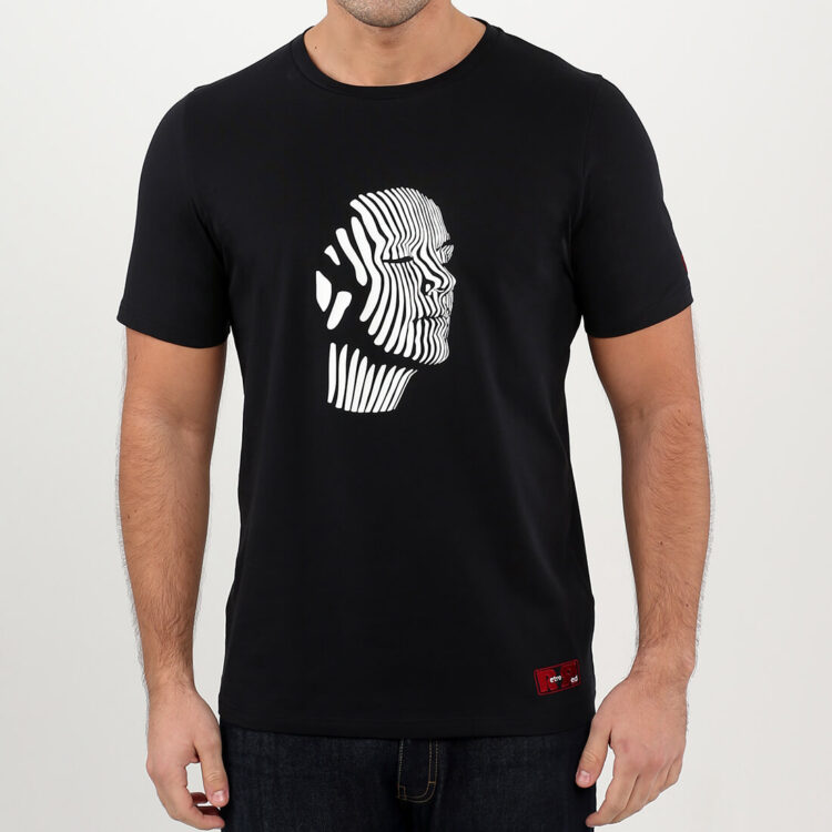 Black Abstract Face white print Mens T-shirt Retro Red