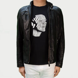Black Abstract Face Men's T-shirt (white print)