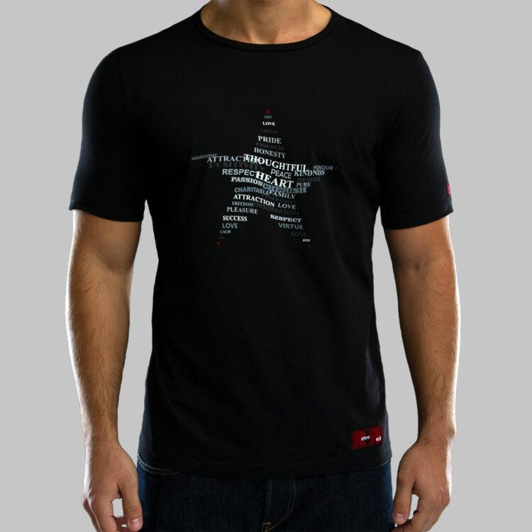Black Twisted Star Mens T-shirt Retro Red