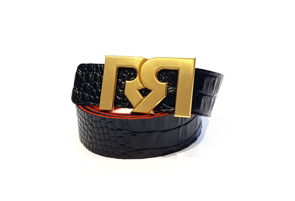 Black Croc print leather belt with RX2 Brushed Gold Buckle