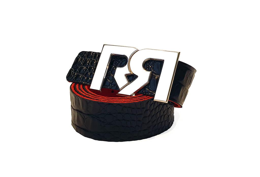 Black Croc print leather belt with RX2 Palladium Buckle
