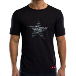 Black Slim Fit Twisted Star Men's T-shirt