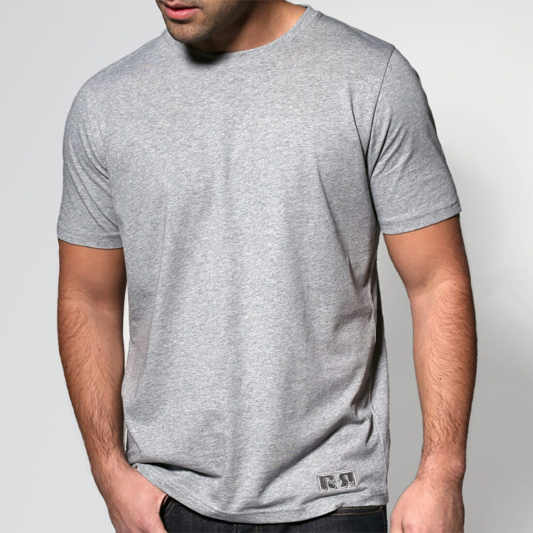 Mens Grey T-shirt Retro Red