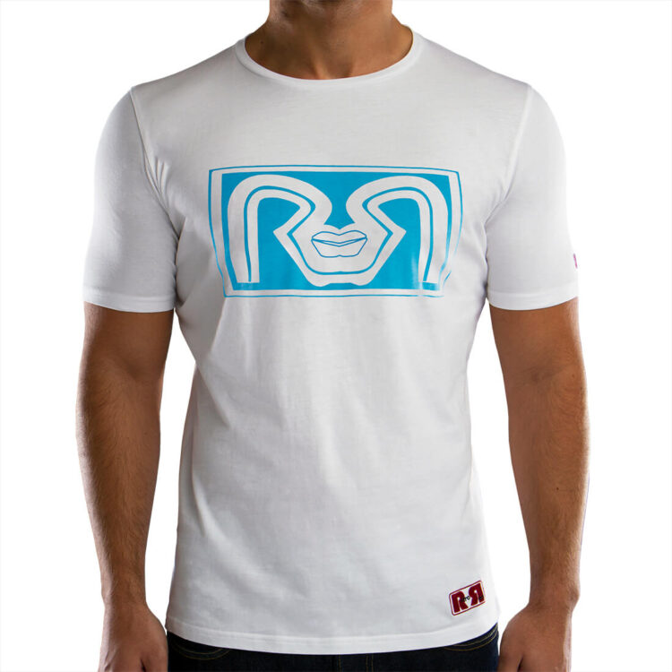 Mens White Printed T-shirts RR Lips Retro Red