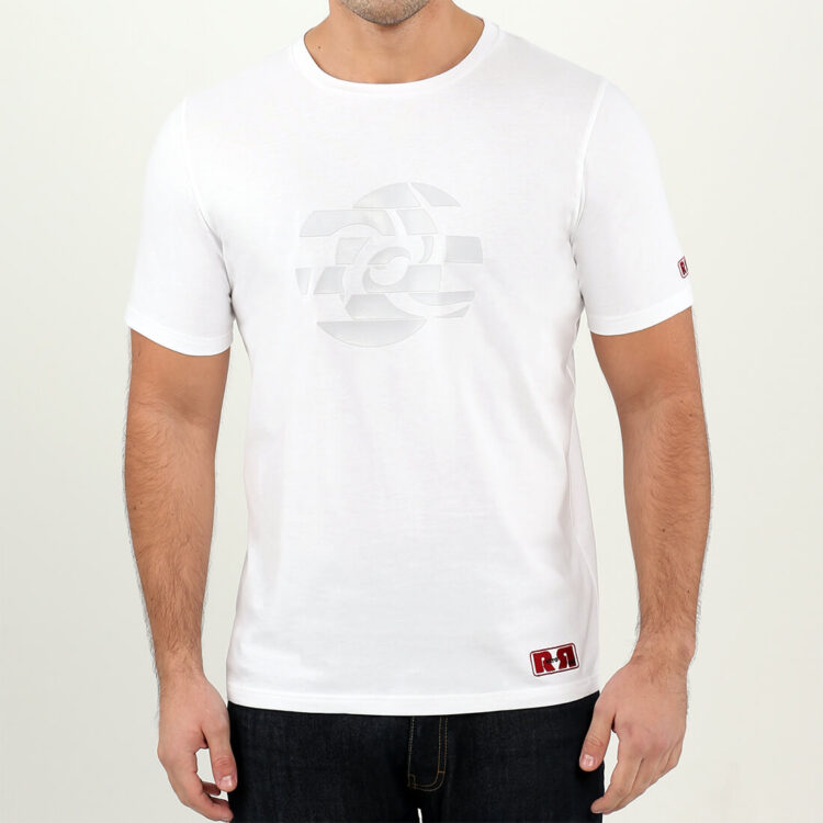 White Abstract Circle Mens T-shirt by Retro Red