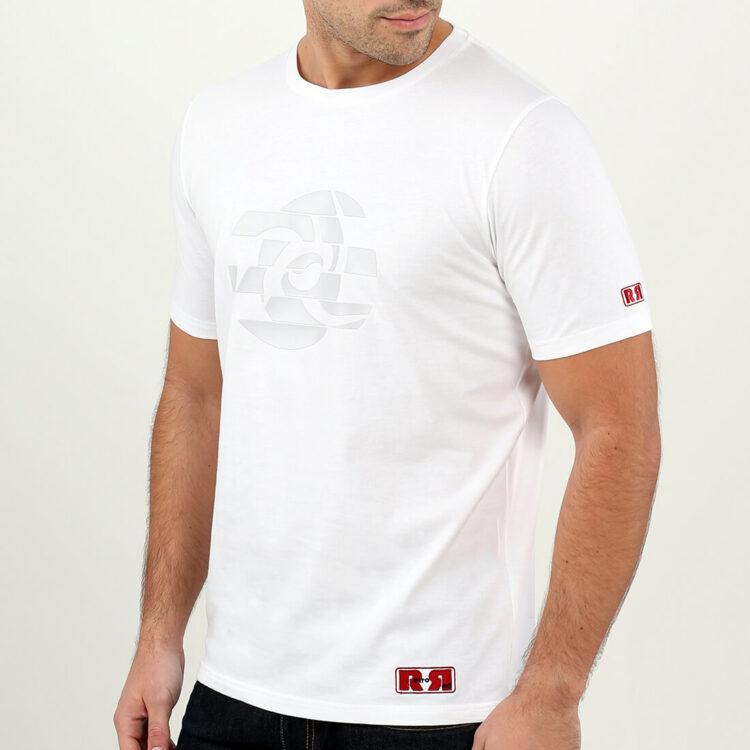 White Abstract Circle Mens T-shirt Retro Red