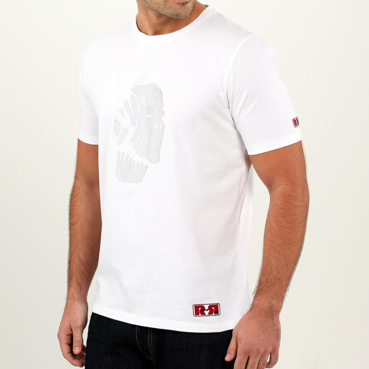 White Abstract Face Mens T-shirt Retro Red