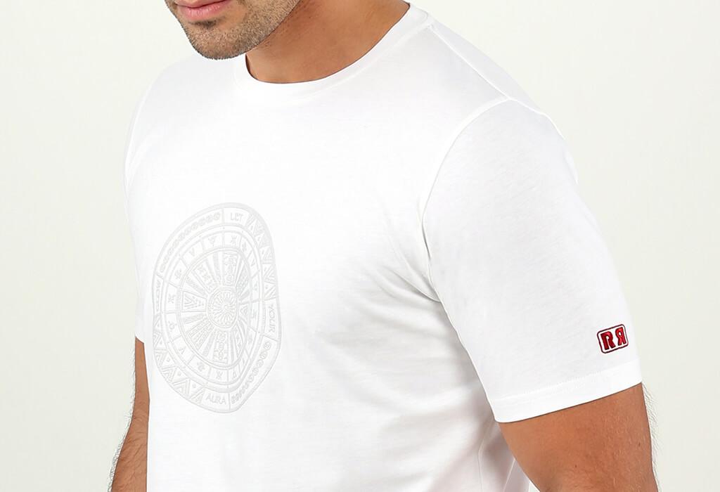 White Aztec Tattoo Mens T-shirt Retro Red