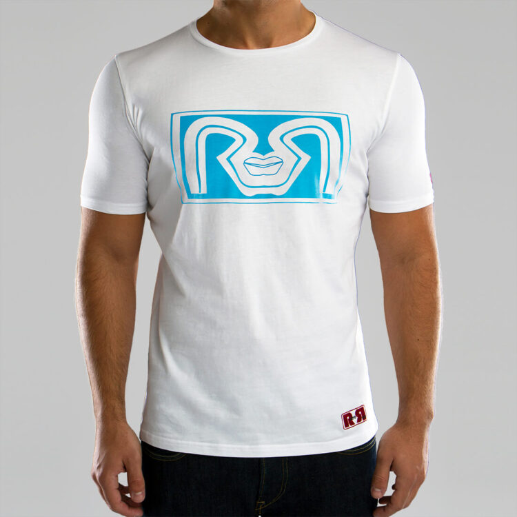 White RR Lips Mens T-shirt Retro Red