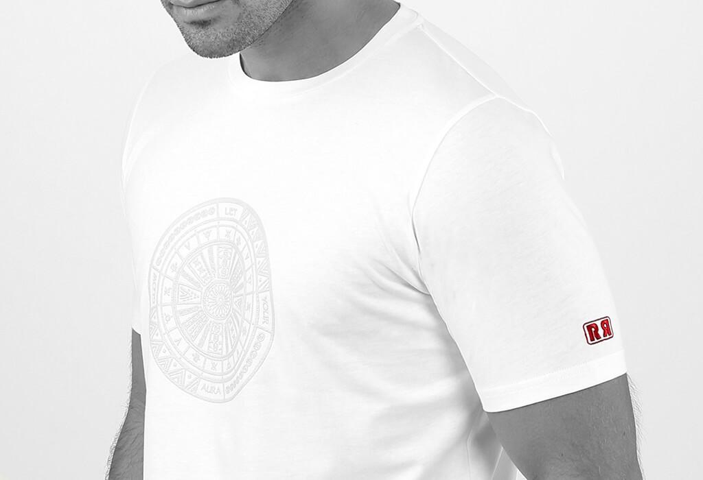 Retro Red Men's White Aztec Tattoo T-shirts