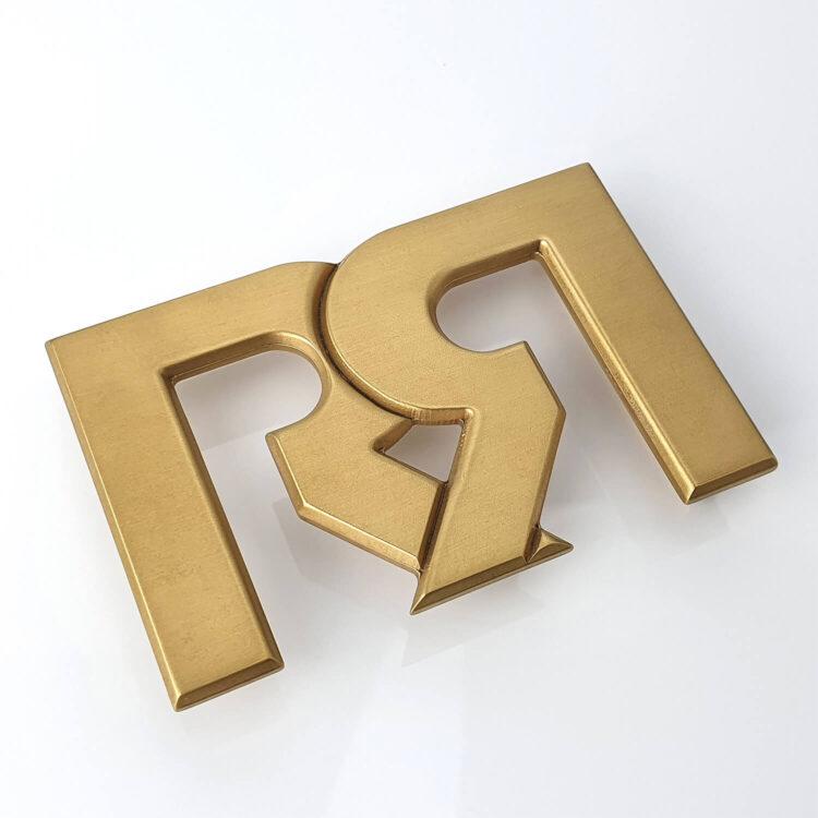 RR Brushed 24 karat Gold plated Belt Buckle