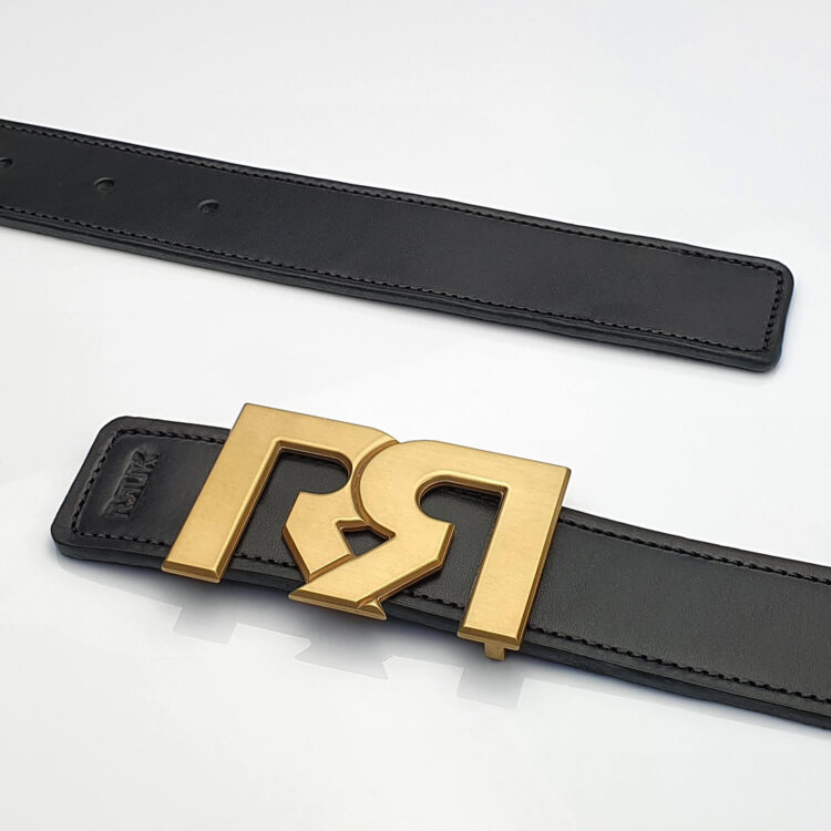 Brushed 24k Gold plated luxury belt buckle with black leather belt