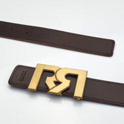 Brushed 24 Karat Gold plated RR buckle with Brown & Black Croc leather belts