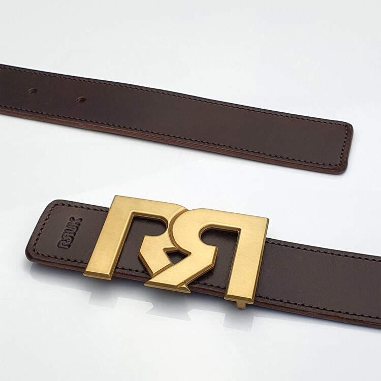 Brushed 24k Gold plated luxury belt buckle with brown leather belt