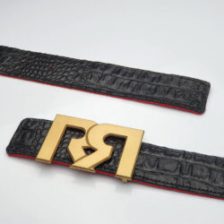 Brushed 24 Karat Gold plated RR buckle with Black & Black Croc leather belts