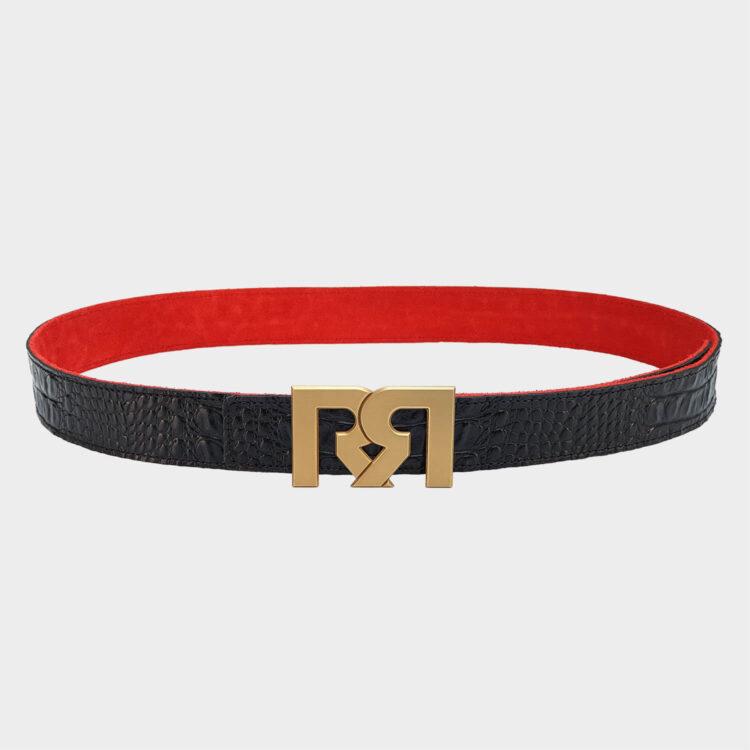 24 Karat Gold plated luxury belt buckle with black Croc leather belt