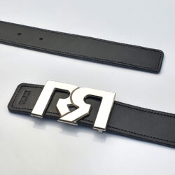 Women's Black & Brown leather belts with polished Palladium plated RR buckle