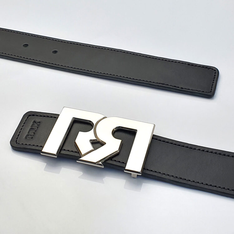 Palladium luxury belt buckle with black leather belt