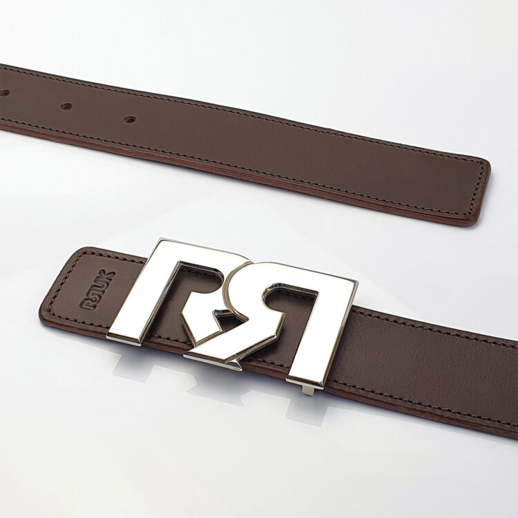 Palladium luxury belt buckle with brown leather belt