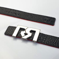 Women's Black & Croc Embossed leather belts with polished Palladium plated RR buckle
