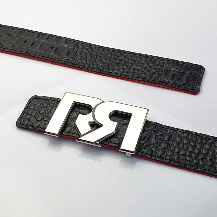 Palladium luxury belt buckle with black croc embossed leather belt