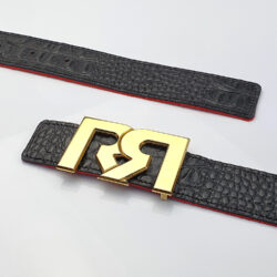 Women's Black & Croc embossed leather belts with polished 24k Gold plated RR buckle