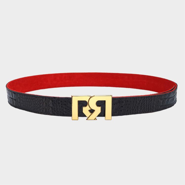 24 Karat Gold plated luxury belt buckle with black croc embossed leather belt