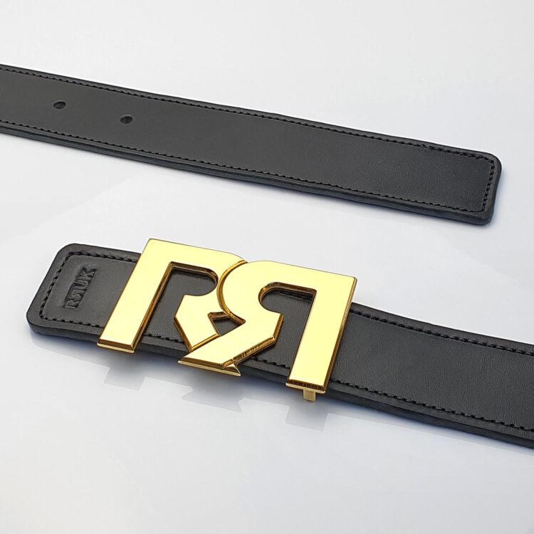 24 Karat Gold plated luxury belt buckle with black leather belt