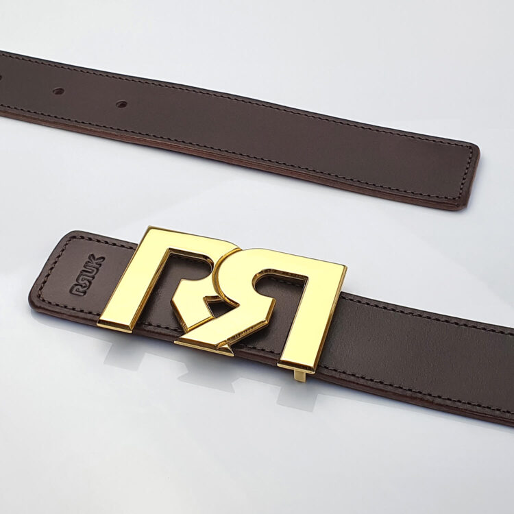 24 Karat Gold plated luxury belt buckle with brown leather belt