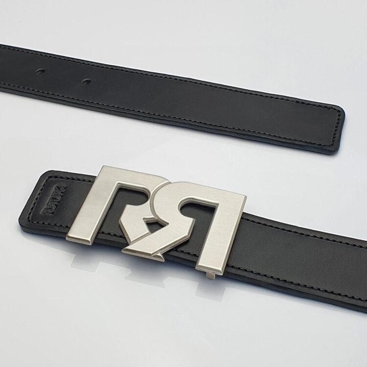 Brushed Silver plated designer belt buckle with black leather belt