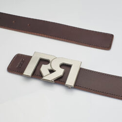 Brushed Silver plated RR buckle with Brown & Croc Embossed leather belts