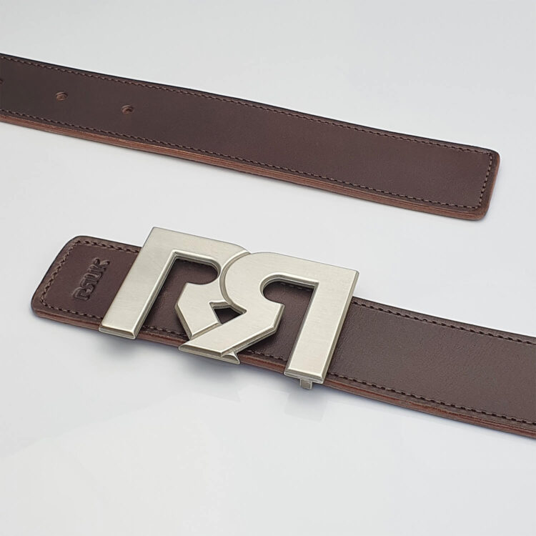 Brushed Silver plated designer belt buckle with brown leather belt