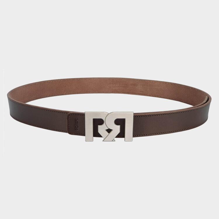 Brushed Silver plated designer belt buckle with brown leather belt