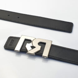 Women's Black & Brown leather belts with 2-tone Palladium plated RR buckle