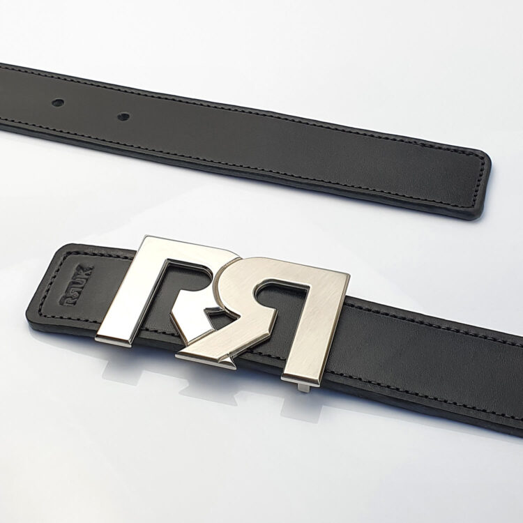 Two Tone Palladium luxury belt buckle with black leather belt