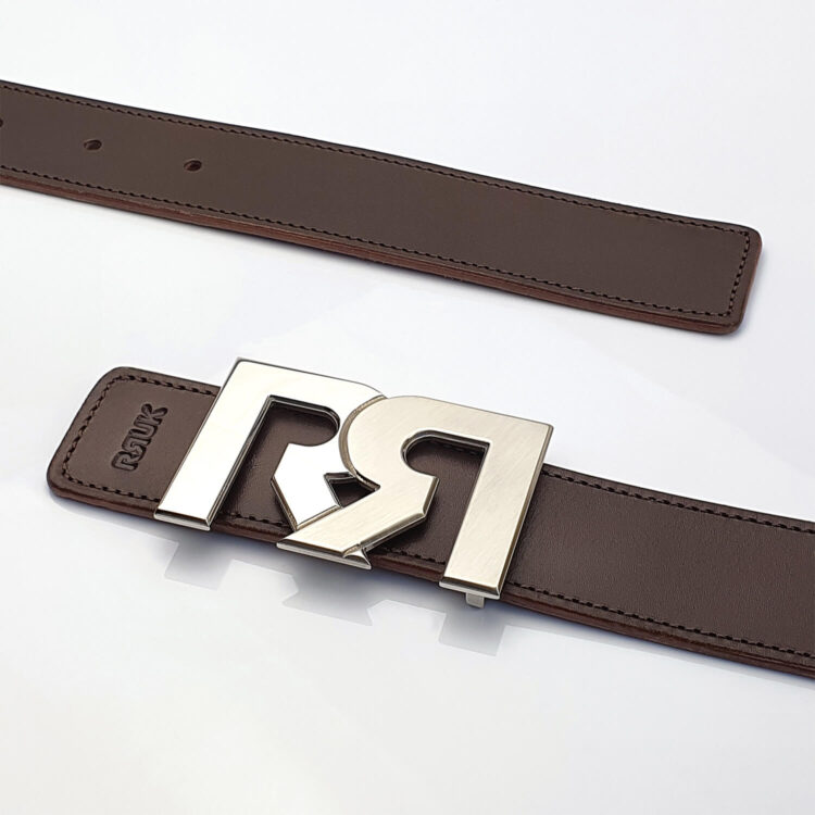Two Tone Palladium luxury belt buckle with brown leather belt