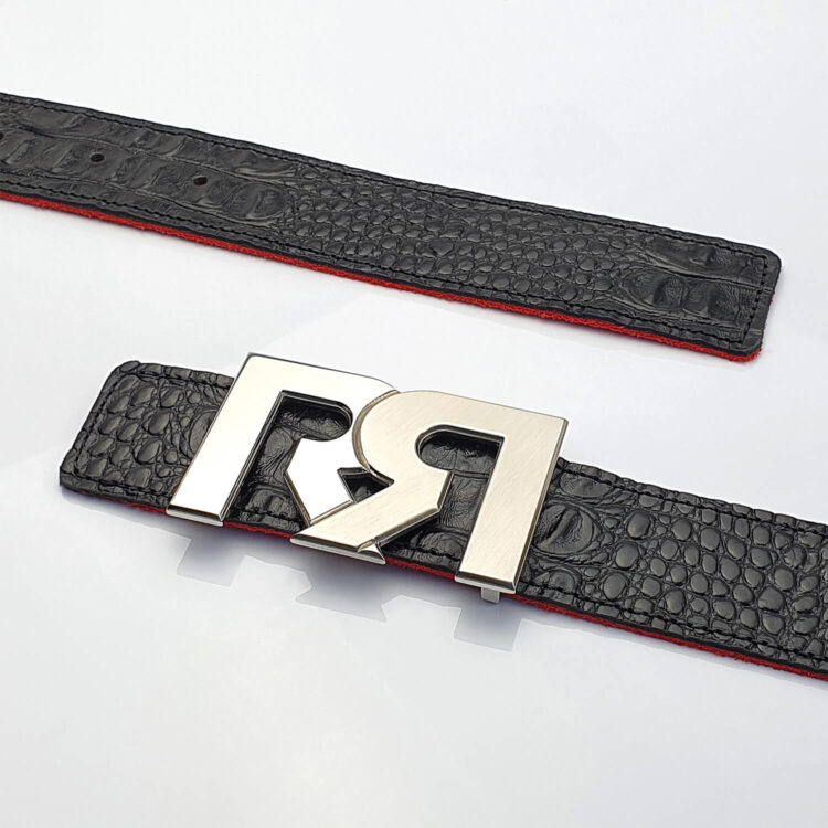 Two Tone Palladium luxury belt buckle with black croc embossed leather belt