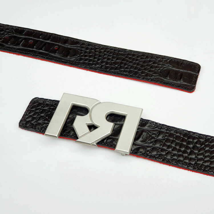 Brushed Silver plated designer belt buckle with black croc embossed leather belt