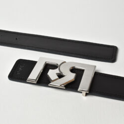 Men's Black & Brown leather belts with 2-tone Palladium plated RR buckle