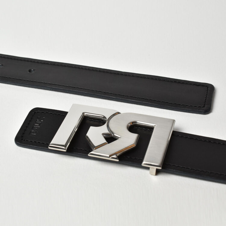 Two tone Palladium rr buckle with black leather belt