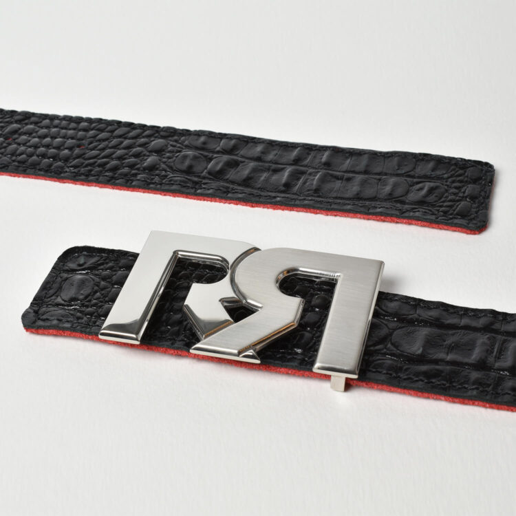 Two tone Palladium rr buckle with croc leather belt