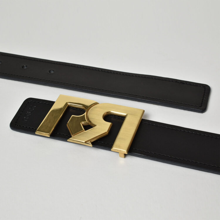 RR Two tone Gold buckle with Black leather belt Retro Red