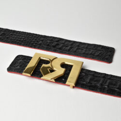 Women's Black & Croc embossed leather belts with 2-tone 24k Gold plated RR buckle