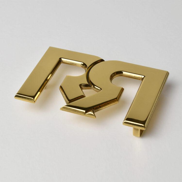 Retro Red RR Polished 24 karat Gold plated Belt Buckle 2020