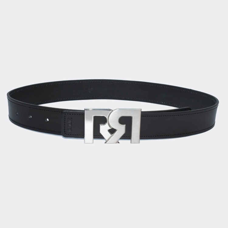 RR Two-Tone Palladium Plated Buckle with Black Designer Belt