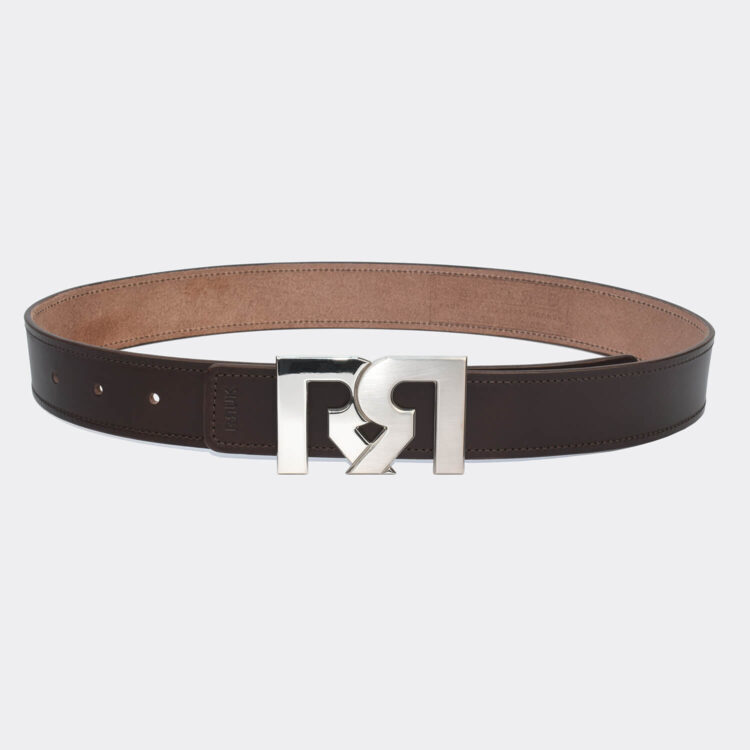 RR Two-Tone Palladium Plated Buckle with Brown Designer Belt