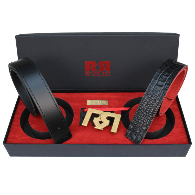 RR Brushed Gold Designer belt set with Black & Croc Leather belts